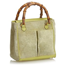 Gucci-Gucci Green Bamboo Suede Satchel-Green