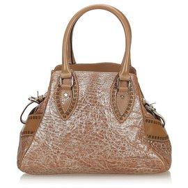 Fendi-Fendi Brown Leather Etniko Handbag-Brown,Silvery