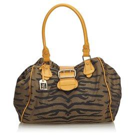 Fendi-Fendi Brown upperr Print Jacquard Handbag-Brown,Black