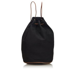 Hermès-Hermes Black Canvas Polochon Mimile-Brown,Black