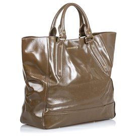 Burberry-Burberry Brown Patent Leather Somerford Tote Bag-Brown,Khaki