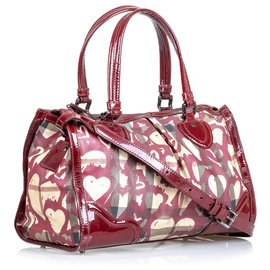 Burberry-Burberry Red Hearts House Check Pilgrim Satchel-Red,Multiple colors