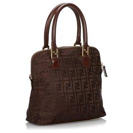 Fendi-Fendi Brown Zucca Nylon Handbag-Brown