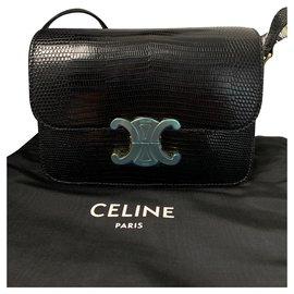 Céline-CELINE TEEN TRIOMPHE IN LIZARD LEATHER BLACK NEW-Black