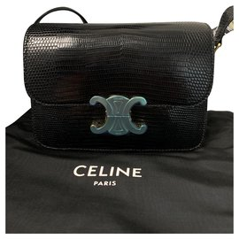 Céline-CELINE TEEN TRIOMPHE EN CUIR Lézard NOIR NOUVEAU-Noir