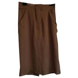 Yves Saint Laurent-Skirt in silk-Brown