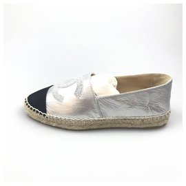 Chanel-Chanel Silver CC Leather Espadrille-Black,Silvery