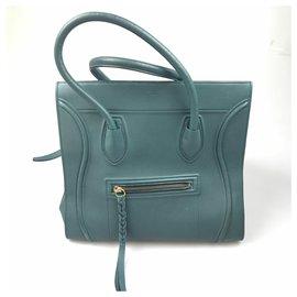 Céline-Celine Green Mini Luggage Tote-Green