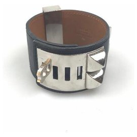 Hermès-Hermes Black Collier De Chien Braelet-Noir,Argenté