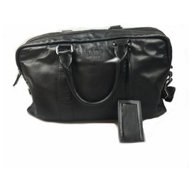 Prada-Prada Black Leather Business Bag-Black
