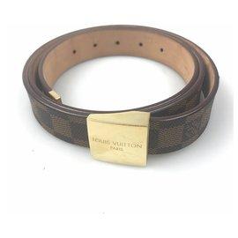 Louis Vuitton-Louis Vuitton Brown Damier Ebene Inventeur Ceinture-Marron,Doré