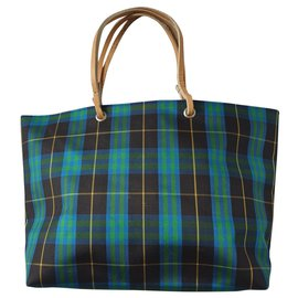 Burberry-Nova Check Tote-Blue,Green