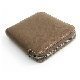 Hermès-Hermes Brown Silk In Compact Wallet-Brown