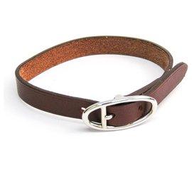 Hermès-Hermes Brown Hapi Barenia Bracelet-Brown,Silvery