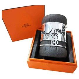 Hermès-Hermes Large silver Caleche bracelet cuff-Silvery