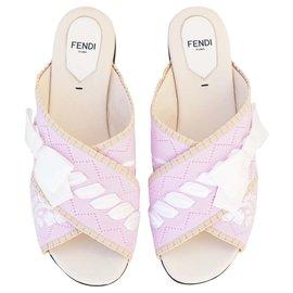 Fendi-Flat slide Sandals-Pink,White,Beige