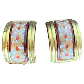 Hermès-Boucles d'oreilles en émail-Corail