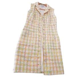Chanel-Chanel multicolor pastel tweed vest dress-Multiple colors