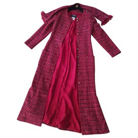 Chanel-Chanel multicolor Raspberry coat with shawl-Multiple colors