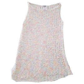 Chanel-CHANEL pastel rainbow knit top-Multiple colors