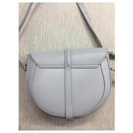 Céline-CELINE BAG 16 AVERAGE BESACE MODEL IN SATIN CALVES-Grey