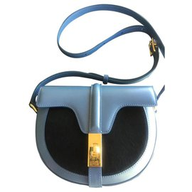 Céline-CELINE BAG 16 BESACE SMALL MODEL IN CALF AND HAIR PONY-Blue