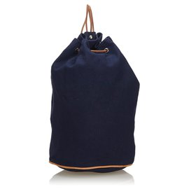 Hermès-Hermes Blue Canvas Polochon Mimile-Brown,Blue,Light brown,Navy blue