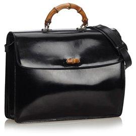 Gucci-Gucci Black Bamboo Leather Briefcase-Black