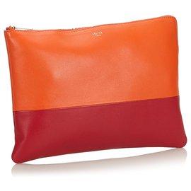 Céline-Celine Orange Bicolor Leather Clutch Bag-Red,Orange,Dark red