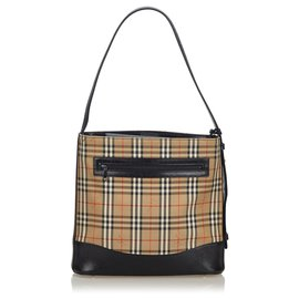 Burberry-Burberry Brown Haymarket Check Canvas Shoulder Bag-Brown,Multiple colors,Beige