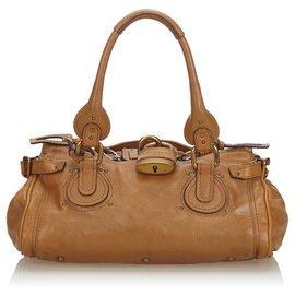 Chloé-Chloe Brown Leather Paddington Handbag-Brown,Beige