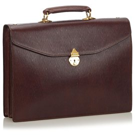 Burberry-Burberry Brown Leather Briefcase-Brown,Dark brown