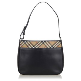Burberry-Burberry Black Leather Shoulder Bag-Black,Multiple colors