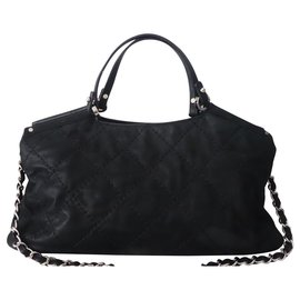 Chanel-BAG CHANEL SHOPPING LEATHER BLACK-Black