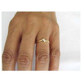 Autre Marque-solitaire or 18k diamant-Doré