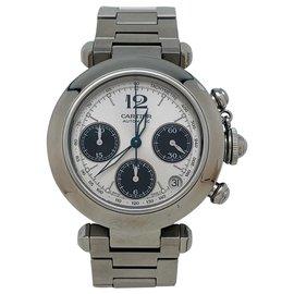 """Cartier-Montre Cartier """"Pasha"""" chronographe en acier.-Autre"""