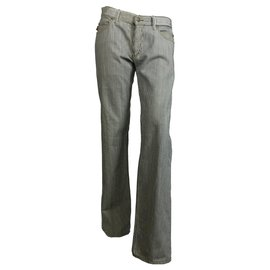 Gucci-pantalon en denim à rayures-Écru,Bleu Marine