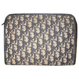 Christian Dior-DIOR toiletry kit vintage in canvas Oblique-Navy blue