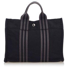 Hermès-Hermes Black Fourre Tout PM-Black,Grey