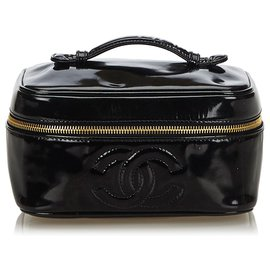 Chanel-Chanel Black Patent Leather CC Vanity Bag-Black