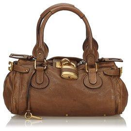 Chloé-Chloe Brown Leather Paddington Handbag-Brown,Dark brown