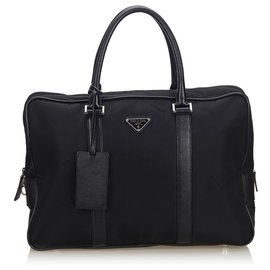 Prada-Prada Black Nylon Business Bag-Black