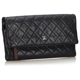 Chanel-Pochette Chanel en cuir noir Matelasse-Noir