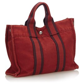 Hermès-Hermes Red Fourre Tout PM-Red,Dark red
