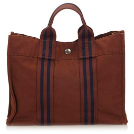 Hermès-Hermes Brown Fourre Tout PM-Brown,Blue,Navy blue