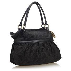 Fendi-Fendi Black Zucca Canvas Chef Shoulder Bag-Black