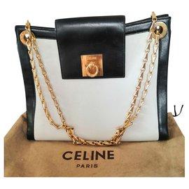Céline-Merveilleux sac Céline vintage-Noir,Blanc,Doré