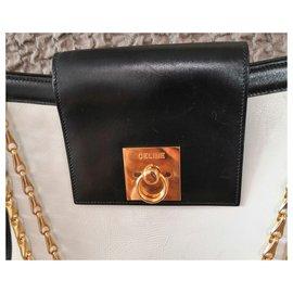 Céline-Wonderful vintage Céline bag-Black,White,Golden