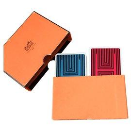 Hermès-Rare vintage jeu de carte Hermès-Rouge,Bleu foncé