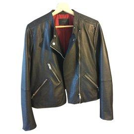 Ikks-Black leather jacket size L-Black